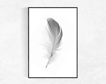 Feather Print, Scandinavian Art Print, Modern Minimalist, Feather Wall Art, Black And White Decor, Printable Art