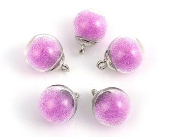5 pendants Globe in glass silver Interior Micro beads - Rose