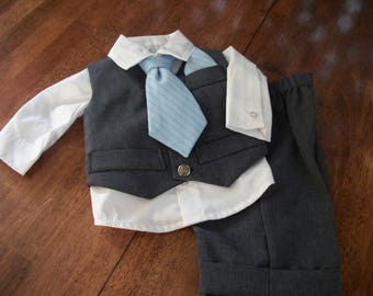 BEING DISCONTINUED - Infant Boys Charcoal Gray 4 Piece Suit