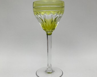 Val St Lambert Lemon Yellow Cut-To-Clear Lead Crystal Wine Glass - Bohemian - c1885
