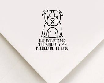 Bulldog Return Address Stamp, Custom Stamp, Self Inking Stamp, Bulldog Address Stamp, Custom Address Stamp, Housewarming Gift, Realtor Gift
