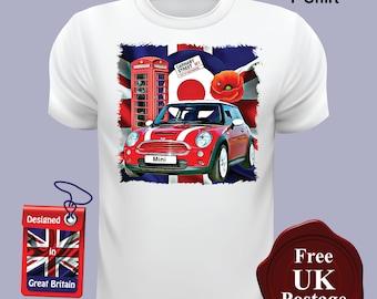 New Mini Cooper T Shirt, Mini Cooper, Union Jack, Mod, Target, Poppy, T Shirt, Printed By Us,