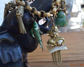 Vintage RARE Dragon Charm and Bracelet,Happy Buddha Charm,Cloisonne Enamel Articulated Fish,4 Tasseled Lanterns