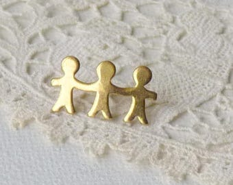 Small People Lapel Pin Gold Tone Frienship Lapel Pin Minimalist Collectible Pin, Retro Accessories,Hat,Bag Backpack Pin, Minimalist Jewelry