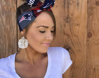 New England Patriots Red White Blue Dolly Bow Pinup Headband || Reversible Rockabilly Retro Headscarf Hair Band Girl Head Wrap Accessory