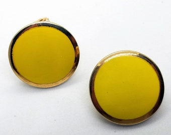 Vintage 1980's Lemon Yellow Enamel and Gold Tone Clip On Earrings
