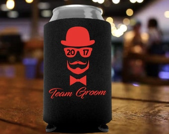 Bachelor Party Can Cooler | Team Groom | Party Favors | Gift | Beverage Insulator | Personalized | Can Sleeve | Bowtie | Mustache
