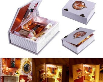 Assembly DIY House Of Girlfriends Diary Dollhouse with Led Light, Novelty Book Model Wooden Doll House Toys