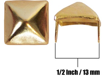 "PY/77 Pyramid Shaped Square Studs 1/2"" 3/8"" 1/4"" Nailhead 13mm 9mm 6mm Spot Tack Spikes Gold/Golden USA NYC Jackets Vests Hats Caps Sneakers"
