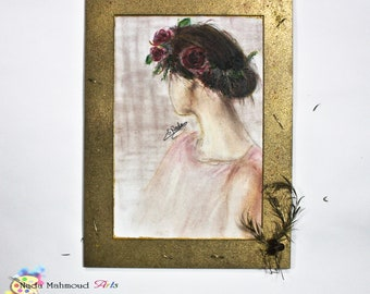 Pastel illustration with handmade frame