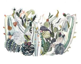 Cactus Nest -Archival Print