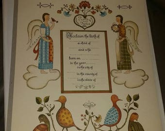 Lithograph Birth Certificate 1961 Feruanda Designs Purity & Virtue Lithography