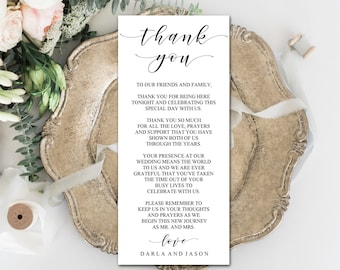 Editable Thank You Place Cards, Elegant, Modern Design, Printable Template, DIY Wedding, PDF, Instant Download - Editable Printable File