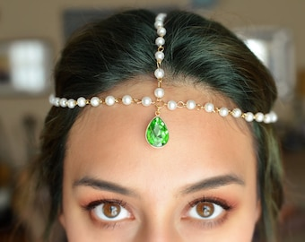 Shimmer and Shine Headpiece | Pearl Headchain with Emerald Green Teardrop