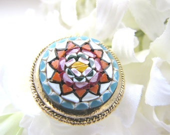 Vintage Micro Mosaic Jewelry Pin Brooch Italy from AllieEtCie