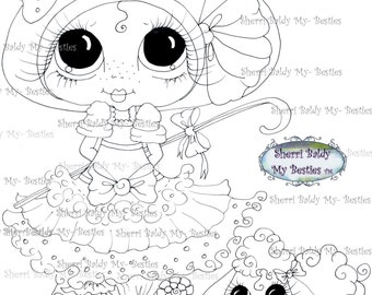 INSTANT DOWNLOAD Digital Digi Stamps Big Eye Big Head Dolls  IMG190 By Sherri Baldy