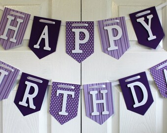 Purple Happy Birthday Banner, High Chair Banner, One Banner