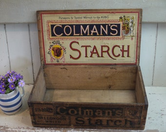 Rare Antique Colmans Starch Box - Vintage Wooden Crate - Vintage Crate - Vintage Advertising - Vintage Box - Colmans Mustard - Crate