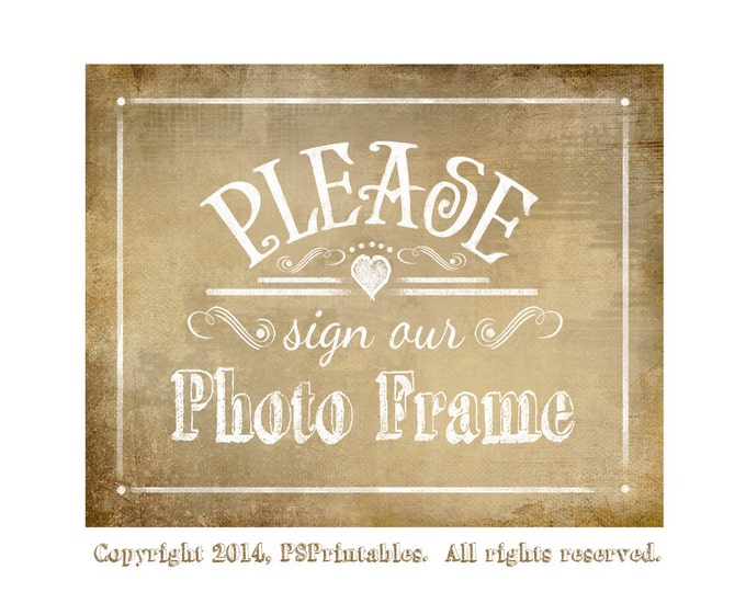 PLEASE sign our PHOTO FRAME Printable Vintage Wedding sign - instant download digital file - Vintage Heart Collection