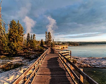 Boardwalk at Yellowstone Lake, Cards With Envelopes, Paper & Party Supplies, Photo Note Card, Blank Greeting Card, Photo Notecard