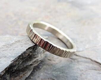 14k White Gold Wood Grain Wedding Band - Narrow, 3mm Rustic Tree Bark  Ring - Flat Rectangular Band, Palladium White Gold Option Available