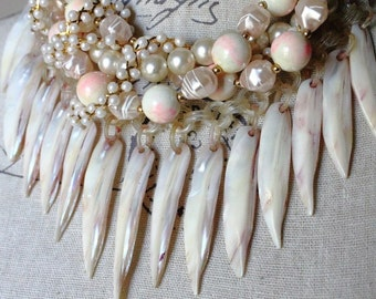 Vintage Assemblage MultiStrand Bib Necklace - Mother of Pearl Feathers - Vintage Blush/Ivory Beads - Pearls - Boho Chic by Boutique Bijou