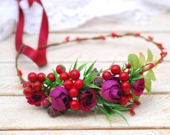 Red flower crown Floral accessories Wedding hair wreath Boho floral crown Wedding halo Bridal halo Bridesmaid flower crown Flower headband