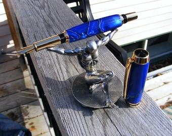 Baron fountain pen in Blue Lagoon resin with gold accents - fine two-tone semi-flex nib