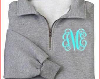 MONOGRAMMED quarter zip sweatshirt Adult sizes