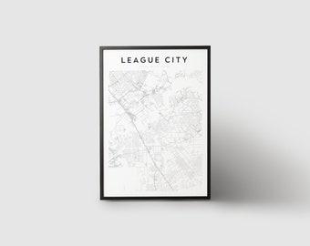 League City Map Print