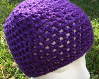 Crochet mesh hat, crochet mesh beanie, crochet net hat, crochet net beanie, sparkly purple, metallic purple