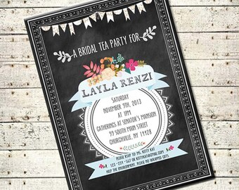 Stella  - Printable DIY Pretty Chalkboard with Flowers Wedding Bridal Shower Invitation - Vintage Typography - Customized Invitation