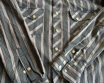 Cowboy Shirt,Modern Cowboy Shirt,Urban Cowboy Shirt,Snap Front Shirt,Tailored Cowboy,Black Stripe Shirt,Black Grey Shirt,Cowboy Oxford Shirt