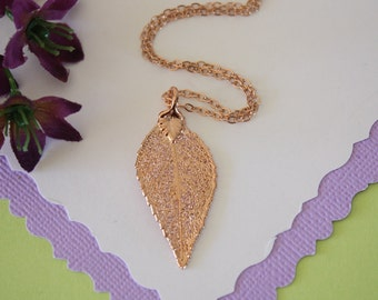 Rose Gold Evergreen Real Leaf Necklace, Small Real Leaf Necklace, Evergreen, Evergreen Leaf, LC49