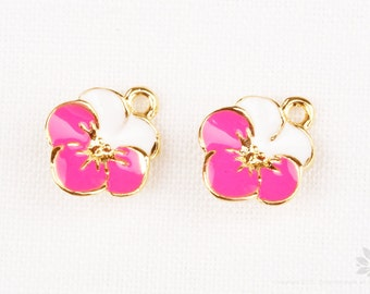 P788-G-HP// Gold Plated Hot Pink, White Epoxy Flower Pendant, 2 pcs