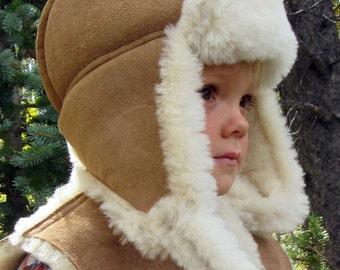 Kids Sheepskin Aviator Hat