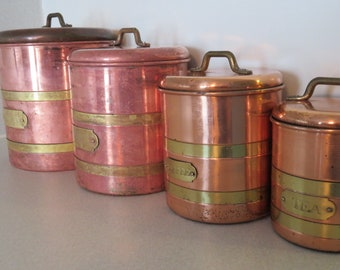 Antique Copper Canister Set of 4 / Vintage Canisters / Copper Kitchen / Flour, Sugar, Coffee, Tea Canisters
