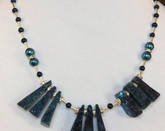 Blue Druzy Wedge Stone Necklace