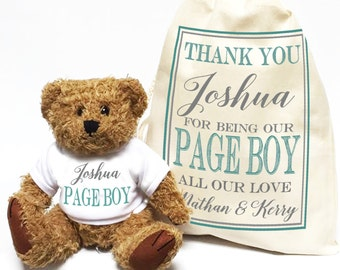 Wedding thank you gift Teddy Bear personalised for your Page Boy. Ring bearer wedding favour gift.