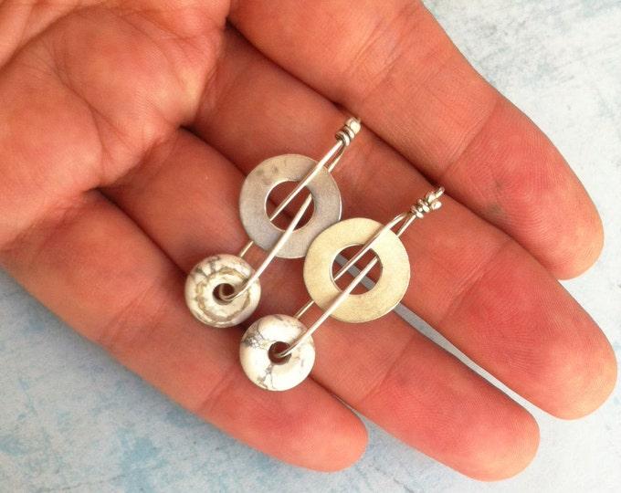 Stud Silver Earrings - howlita white stone donut shape -  drop geometric earrings