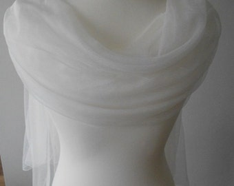 Beautiful Illusion Tulle Bridal Wrap/Stole in Pale Ivory or Pure White
