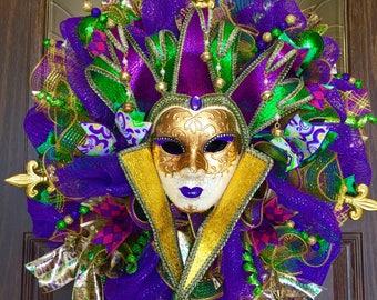Etsy Large Princess Venetian Etsy Mardi Gras Carnival Mask Wreath   Wreaths on Etsy   Etsy Wreaths
