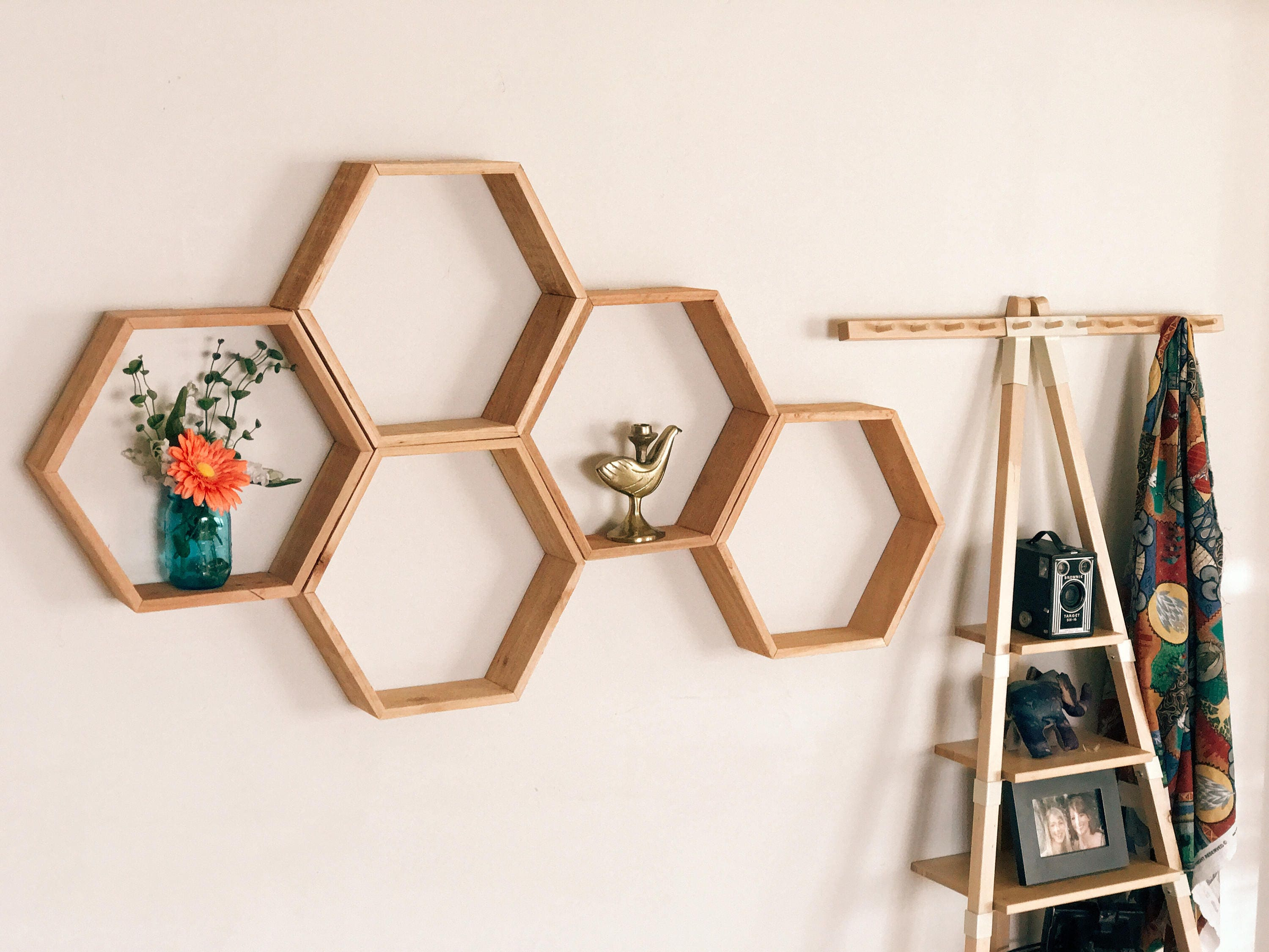 Set Of 5 Large Hexagon Honeycomb Shelves Reclaimed Wood