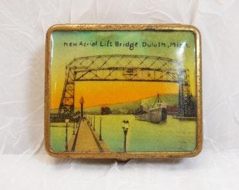Aerial Lift Bridge Duluth MN Souvenir Compact Makeup Case Vintage 1940s