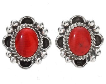 Blood Red Coral Navajo Silver Earrings Post Studs