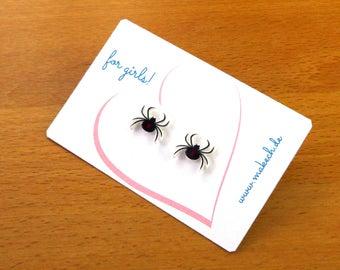 Mädchenschmuck Kinderschmuck Ohrstecker Ohrringe schwarze Spinne Silber 925