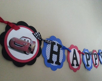 Cars Happy Birthday Banner, Lightning McQueen, Tow Mater