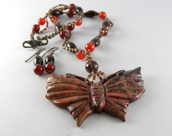 Hand Carved Red Jasper and Brown Agate Butterfly Necklace and Matching Earring Set