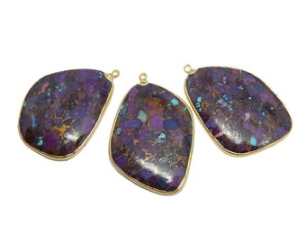 Purple turquoise etsy purple turquoise pendant with electroplated 24k gold edge s93b18 14 aloadofball Gallery