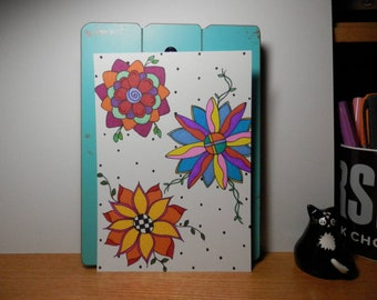 Sharpie Art, Original Artwork, Drawing, Unframed Art, Flowers, 5 x 7 Art
